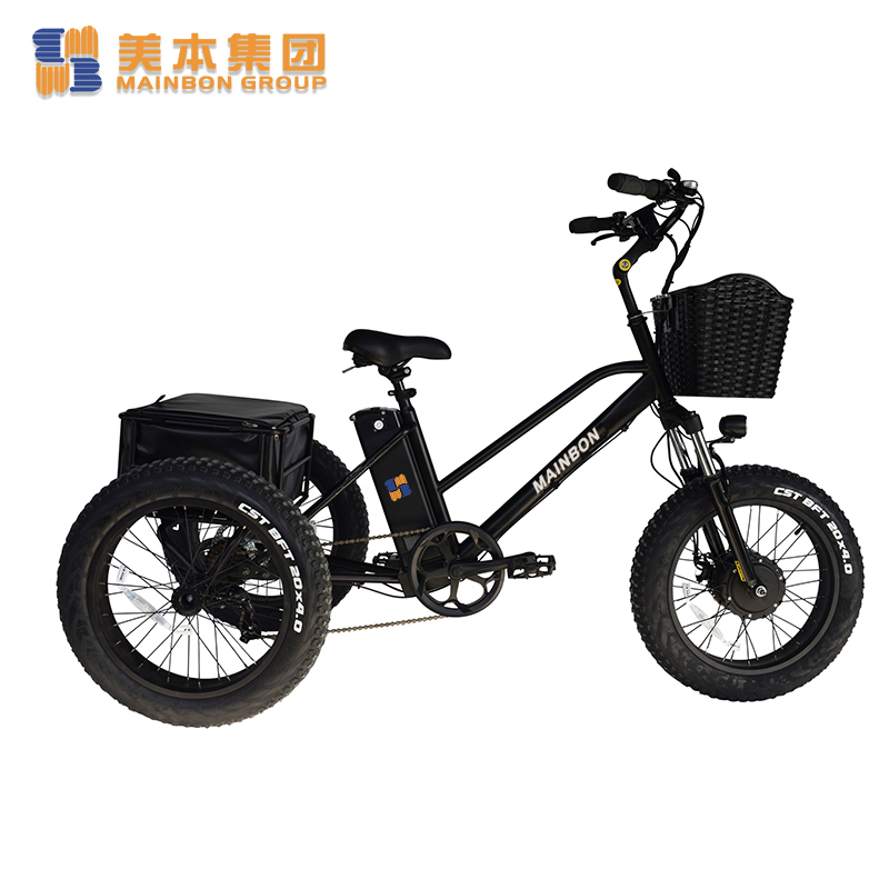Fat Tire Electric Powered Tricycle 3-wheeler 20 Inch with Basket